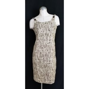 Michael Kors Size 4 Midi Dress  Brown Taupe Linen